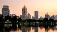 City at night view of Bangkok from Lumpini Park, Thailand. video