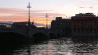4K: City bridge at dusk video