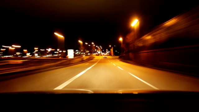 City C​ar drive at night timelapse video