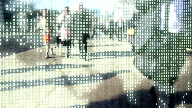City commuters made of binary code overlaid by world made of numbers. video