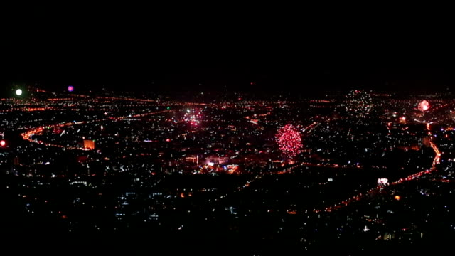City Fireworks in Chiang Mai, Thailand video
