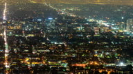 City Grid Aerial View Night Time-lapse Pan video
