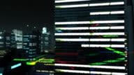 City high rise and digital network by night ver 2 video