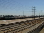City Infrastructure Issues: Urban Rail Line; Train, Los Angeles.  Wide. video
