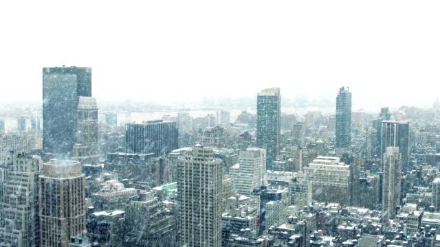 City Landscape In Snowstorm video