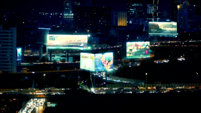City Landscape With Roads And Billboards At Night video