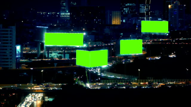 City Landscape With Roads And Greenscreen Billboards video