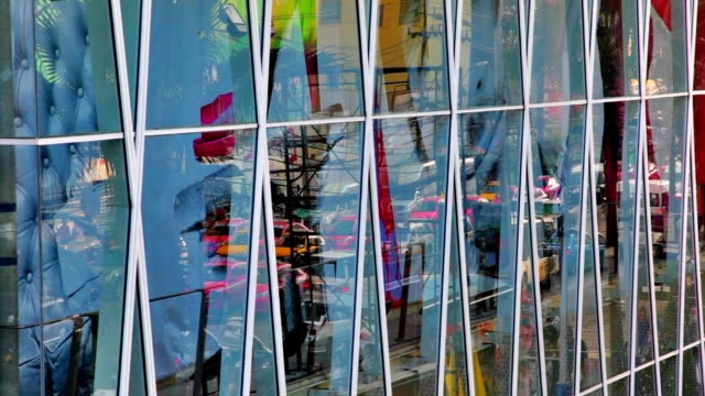 City life reflection in glass video