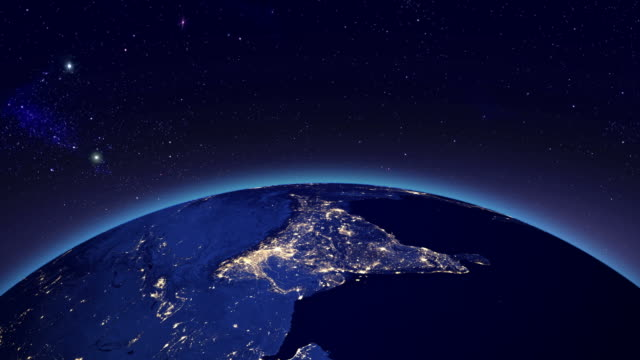City lights in India from space video