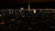 AERIAL City lights in Midtown Manhattan and Downtown financial district at night video