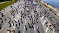 HD - City marathon. Top view video