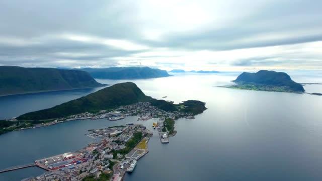 City of Alesund Norway Aerial footage video