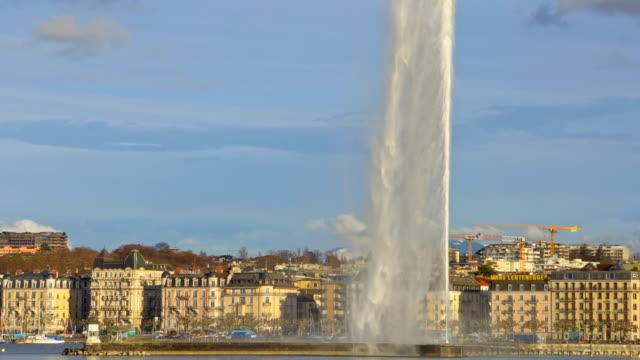City of Geneva with Jet d'Eau fountain, Switzerland video