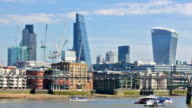 City of London business and banking aria view from River Thames video