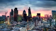 City of London. London's panorama at sun set. View from the St. Paul cathedral video