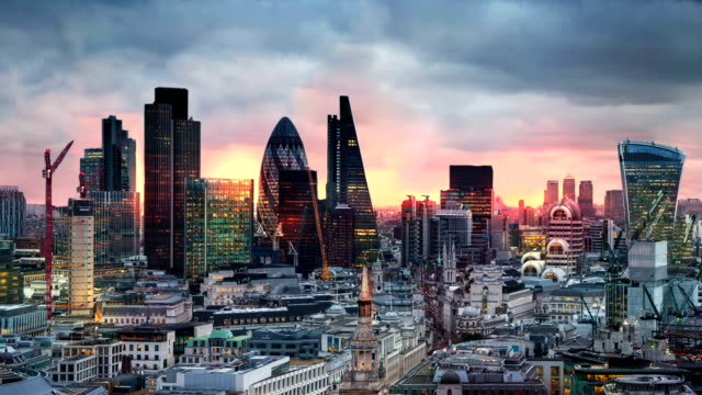 City of London panorama at sun set. video