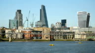 City of London skyline, cheesegrater and walkie talkie buildings. video