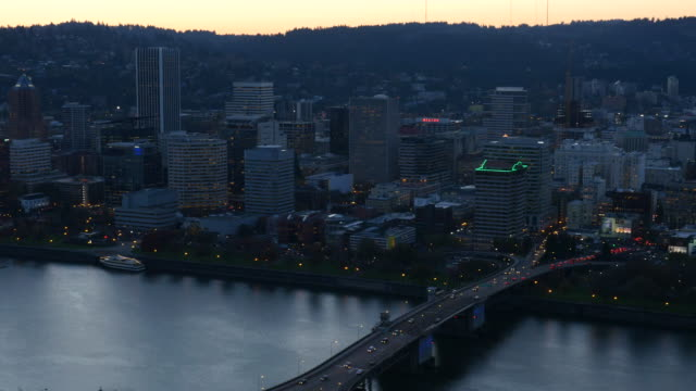 City of Portland, Oregon aerial video at dusk video