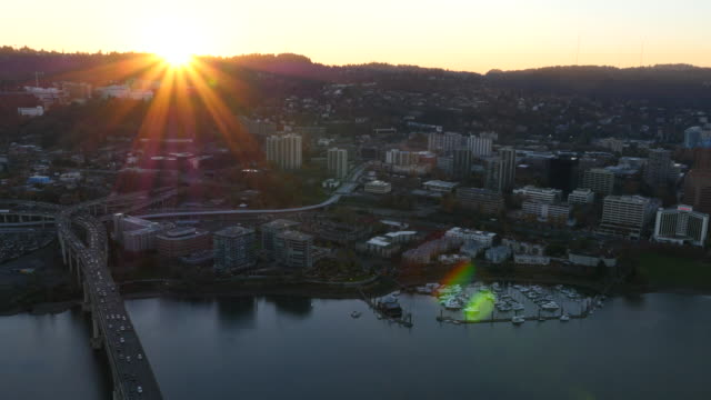 City of Portland, Oregon at sunset, aerial video video