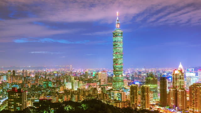 City of Taipei at night video