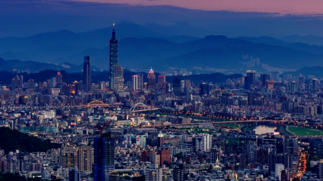 City of Taipei from day to night(no flickering) video