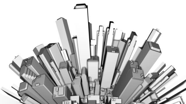 City Office Buildings Aerial Sphere 3D video