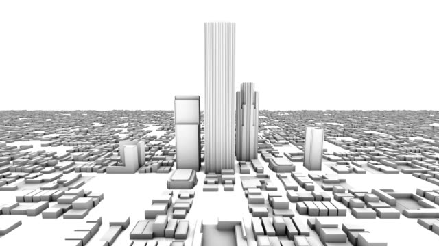 City Office Buildings Growing Time-lapse (3D) video