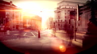 City pedestrian crossing time lapse in sunset. HD video