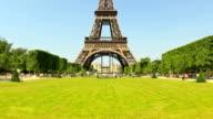City Pedestrian Traffic Time Lapse Eiffel Tower Fisheye Zoom video