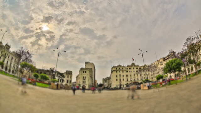 City Pedestrian Traffic Time Lapse Lima HDR video