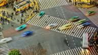 City Pedestrian Traffic Time Lapse Tokyo Shibuya Above video