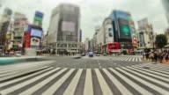 City Pedestrian Traffic Time Lapse Tokyo Shibuya Fisheye video