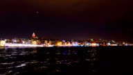 City Rush Night Scene Time Lapse in Bosphorus with Pan video