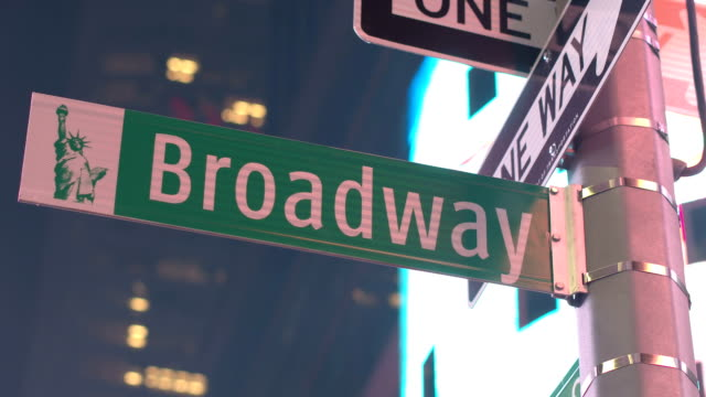 CLOSE UP: City signage & Broadway street sign mounted on a pole at Times Square video