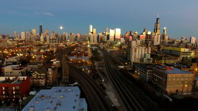 City Skyline View from the West Side During Sunset at Night video