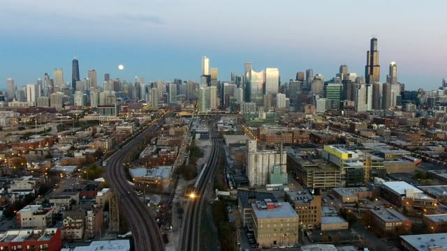 City Skyline View from the West Side with Commuter Train Leaving video
