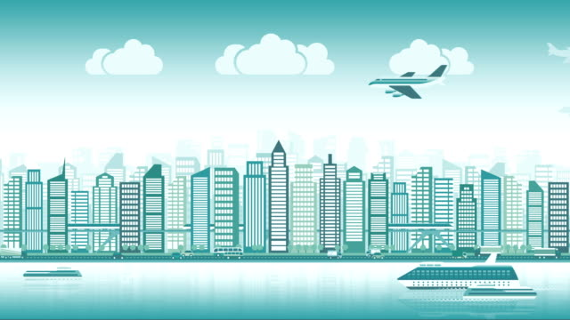 City skyline with traffic of various vehicles train airplane car ship in flat style, cityscape, seamless loop video