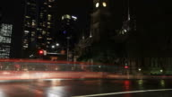 City Street Night Traffic and Pedestrian Time Lapse video