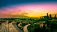 SEATTLE city time-lapse freeway traffic video