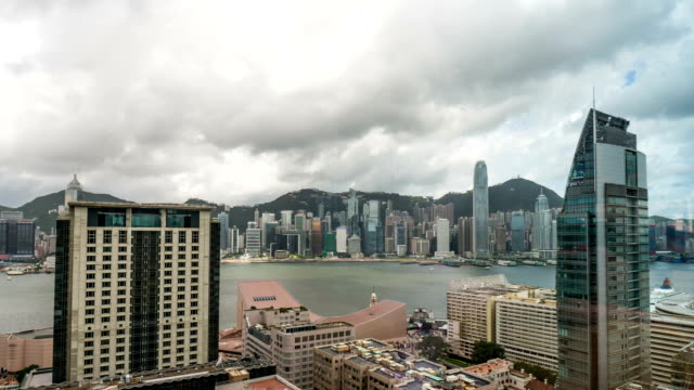 City timelapse. Zoom in shot. Hong Kong. video