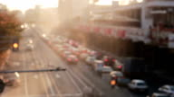 City top view on the traffic cars. blur. timelapse video