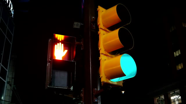 City traffic light turns from green to red video