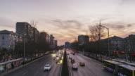 T/L WS HA ZO City Traffic of Beijing at Dusk / Beijing, China video