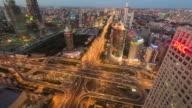 T/L WS HA PAN City Traffic of Beijing, Dusk to Night / Beijing, China video