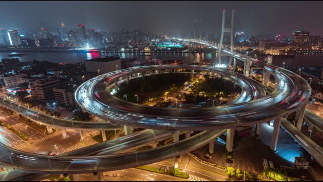 T/L HA LR PAN City Traffic of Shanghai at Night, Nanpu Bridge video