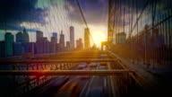 city traffic on Brooklyn bridge at night video