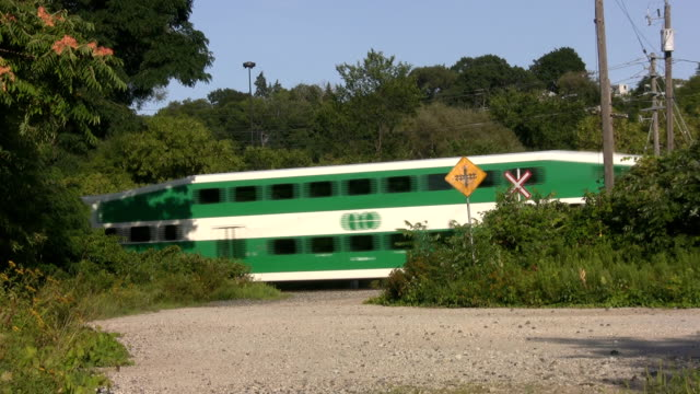 City train. Country crossing. video