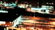 City Train Yard Night Time Lapse video