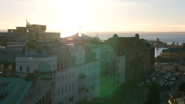City view at sunset. Cityscape skyline Helsingborg, Sweden video