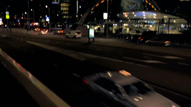 City view of night Rotterdam, Netherlands video